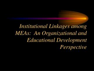 Institutional Linkages among MEAs:  An Organizational and Educational Development Perspective