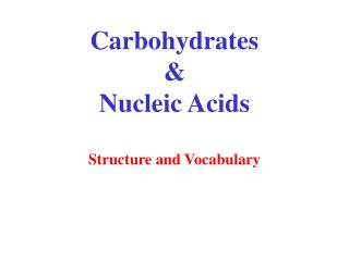 Carbohydrates  Nucleic Acids