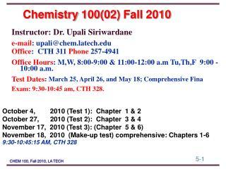 Chemistry 10002 Fall 2010