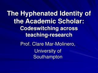 The Hyphenated Identity of the Academic Scholar:   Codeswitching across  teaching-research