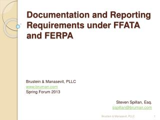 Documentation and Reporting Requirements under FFATA and FERPA