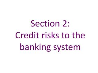 Section 2:   Credit risks to the banking system