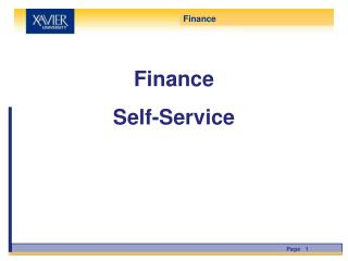 Finance  Self-Service
