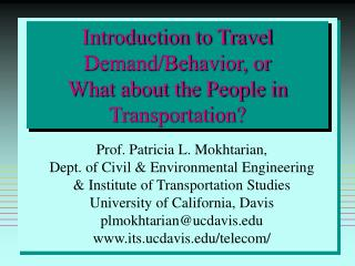 Introduction to Travel DemandBehavior