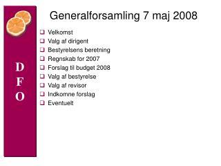 Generalforsamling 7 maj 2008