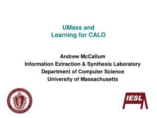 UMass and Learning for CALO