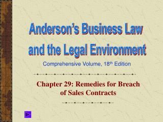 Chapter 29: Remedies for Breach of Sales Contracts
