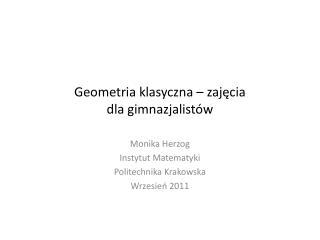Geometria klasyczna   zajecia  dla gimnazjalist w