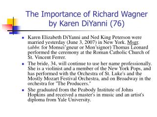 The Importance of Richard Wagner by Karen DiYanni 76