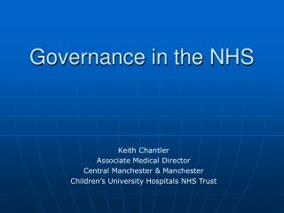 Governance in the NHS