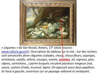 L gumes   de Van Kessel, Anvers, 17e si cle source : culture.gouv.fr  Description du tableau sur le site : Sur des roc