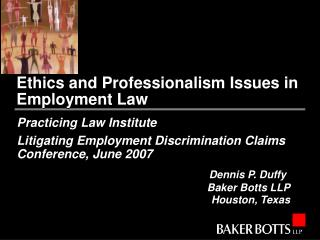 Ethics and Professionalism Issues in Employment Law