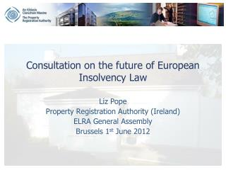 Consultation on the future of European Insolvency Law