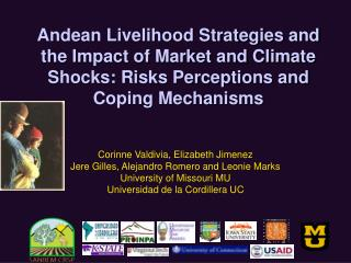 Andean Livelihood Strategies and the Impact of Market and Climate Shocks: Risks Perceptions and Coping Mechanisms