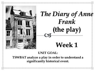 The Diary of Anne Frank the play  Week 1