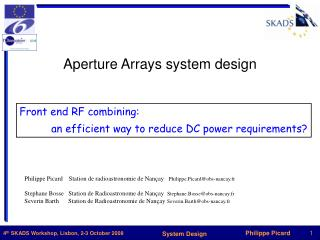Aperture Arrays system design