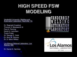 high speed fsw modeling