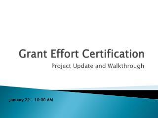Grant Effort Certification