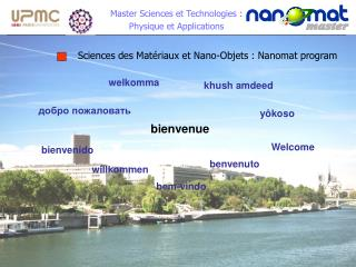 Master Sciences et Technologies :  Physique et Applications
