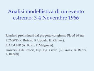 Analisi modellistica di un evento estremo: 3-4 Novembre 1966