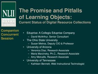 The Promise and Pitfalls of Learning Objects:  Current Status of Digital Resource Collections