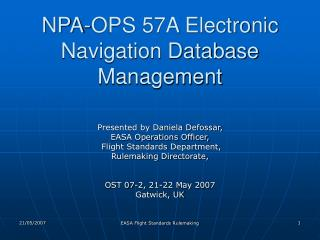 NPA-OPS 57A Electronic Navigation Database Management