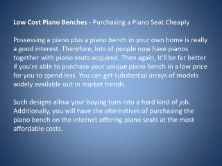 low cost piano benches - purchasing a piano seat cheaply