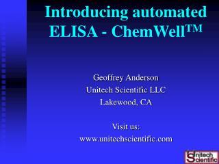 Introducing automated ELISA - ChemWellTM