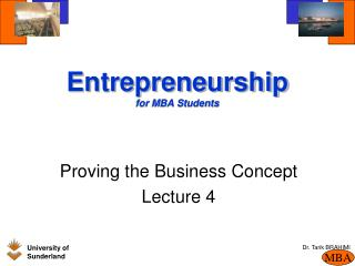 Entrepreneurship  for MBA Students