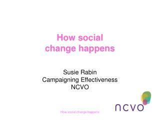How social  change happens   Susie Rabin Campaigning Effectiveness NCVO