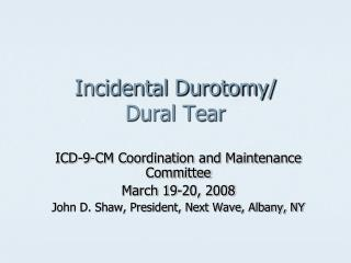 incidental durotomy