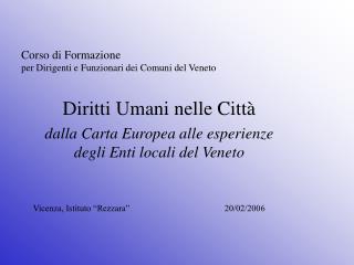 Corso di Formazione  per Dirigenti e Funzionari dei Comuni del Veneto