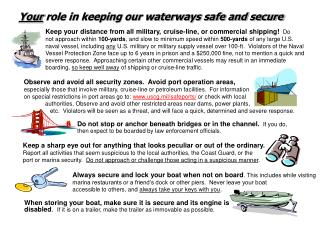 Your role in keeping our waterways safe and secure