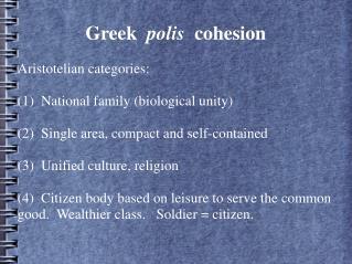 Greek  polis  cohesion