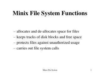 Minix File System Functions