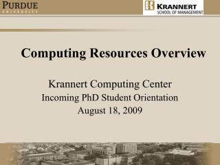 Computing Resources Overview