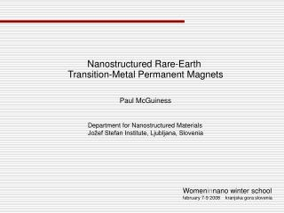 Nanostructured Rare-Earth  Transition-Metal Permanent Magnets