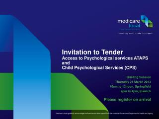 Invitation to Tender  Access to Psychological services ATAPS and Child Psychological Services CPS