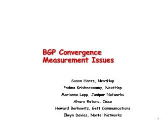 BGP Convergence Measurement Issues