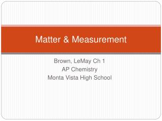 Matter  Measurement