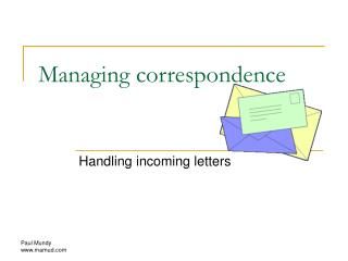 Managing correspondence