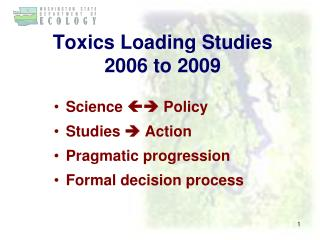 Toxics Loading Studies 2006 to 2009