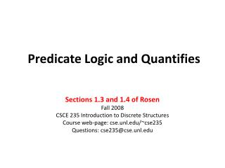 Predicate Logic and Quantifies