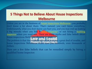 5 things not to believe about house inspections melbourne