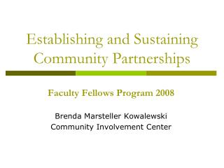 Establishing and Sustaining Community Partnerships