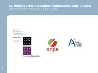 Le ch mage des personnes handicap es dans la Loire R union d information du 15 avril 2005