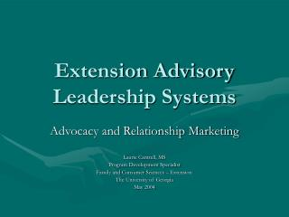 Extension Advisory Leadership Systems