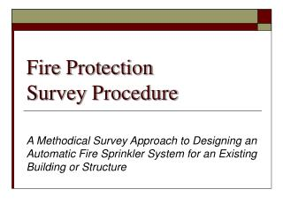 Fire Protection Survey Procedure
