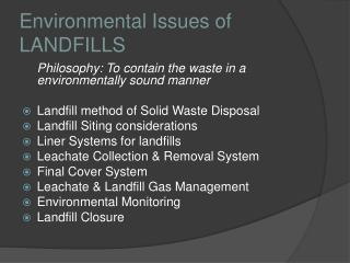 Environmental Issues of LANDFILLS