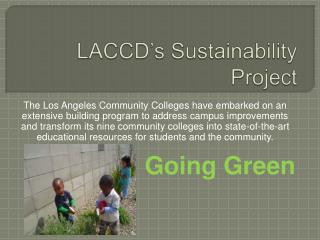 LACCD s Sustainability Project